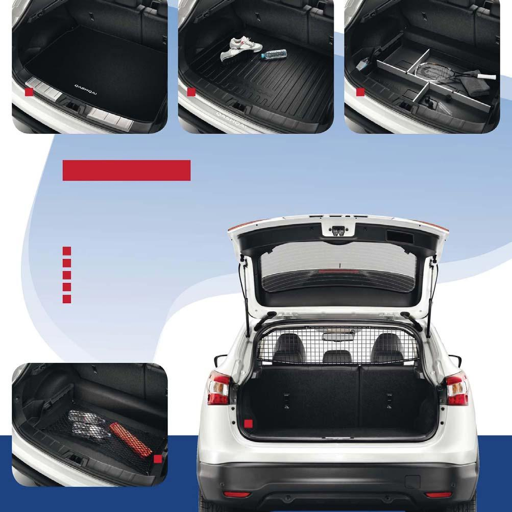 TRUNK UTILITY MAKE SPACE Make the most of your boot space with a nifty cargo organiser, trunk net and dog guard/ trunk partitioner and add a soft trunk liner