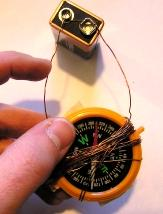 Experiment 2 Making a Galvanometer You need: At least 2 feet of wire (you can reuse the wire from Experiment 1 if you wish) Compass 9 volt battery 1.