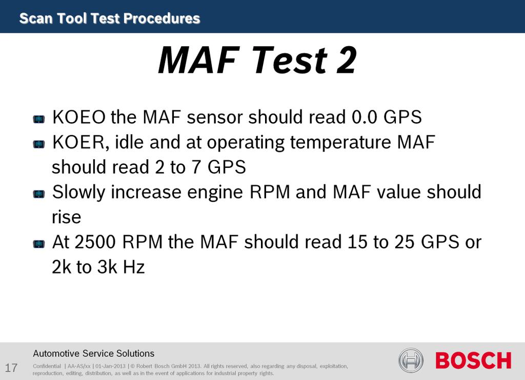Purpose of this test is to test sensor function. KOEO the MAF sensor should read 0.