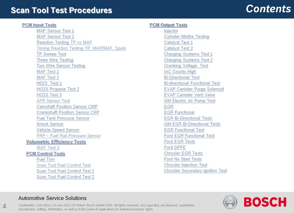 Contents To hotlink to a specific test, click