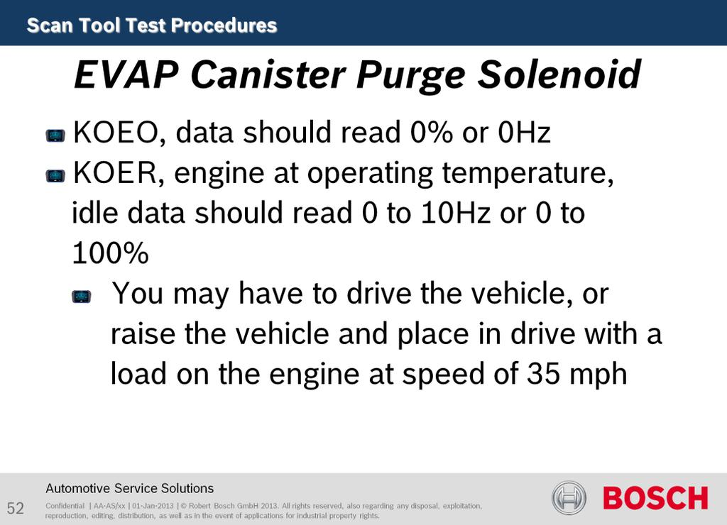 The purpose of this test is to the EVAP Canister Purge Solenoid.