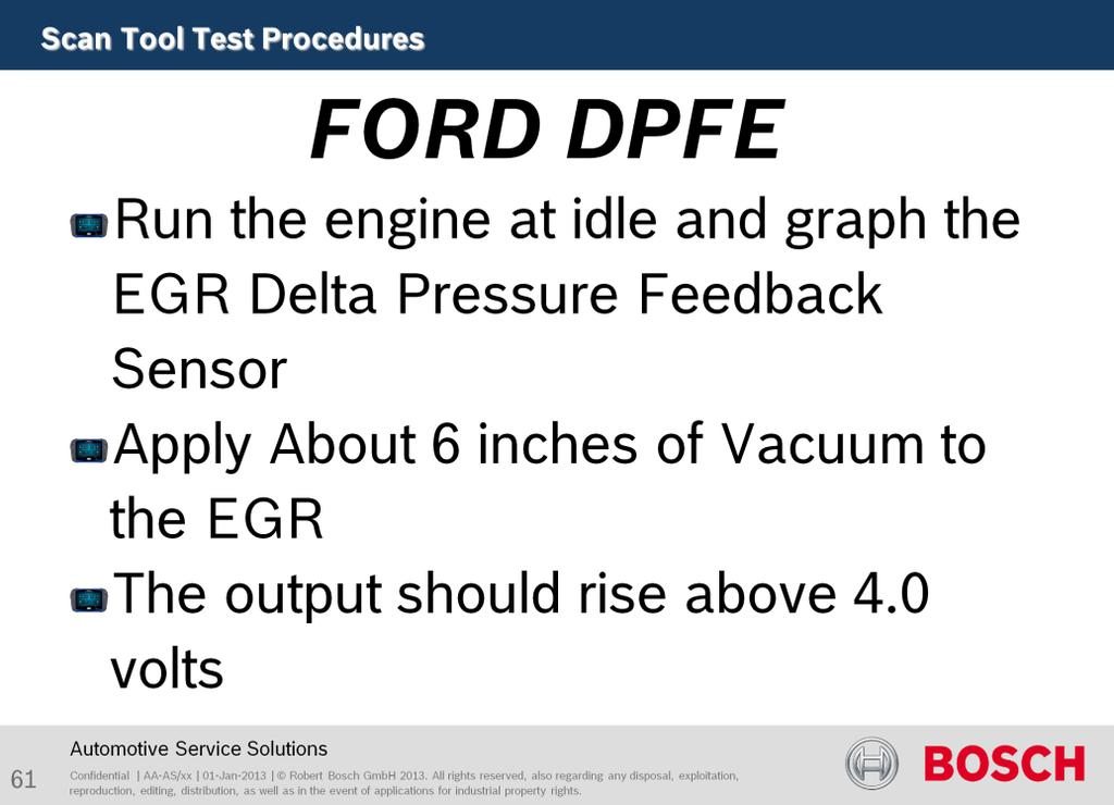 The purpose of this test to verify EGR flow Start the engine and bring it to operating temperature. Hook up the scan tool and use data-stream readings for the DPFE sensor, HO2S and Engine RPM.