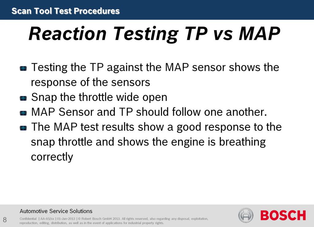 Purpose of this test is to verify engine performance. Testing the TP against MAP sensor shows the response of the sensors. Snap the throttle wide open, KOER. They should follow one another.