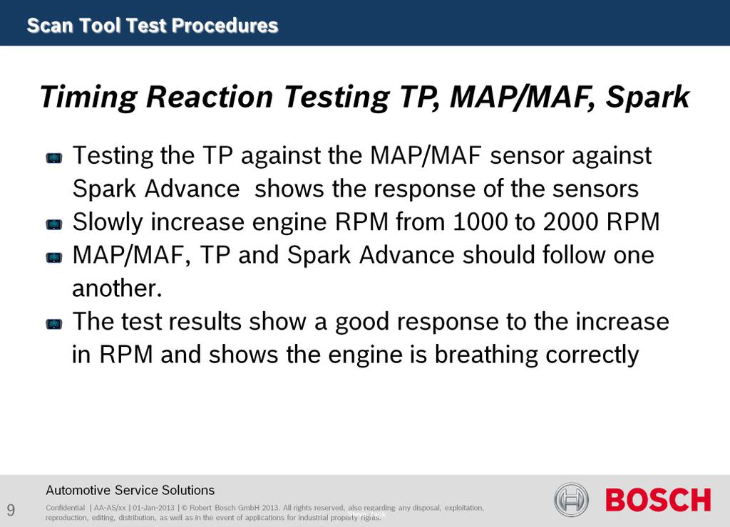 Purpose of this test is to verify engine performance. Testing the TP against MAP/MAF and Spark Advance shows the response of the sensors.
