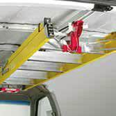 Rugged and step, extension, or multiposition ladders and can be mounted to the roof or side panel.