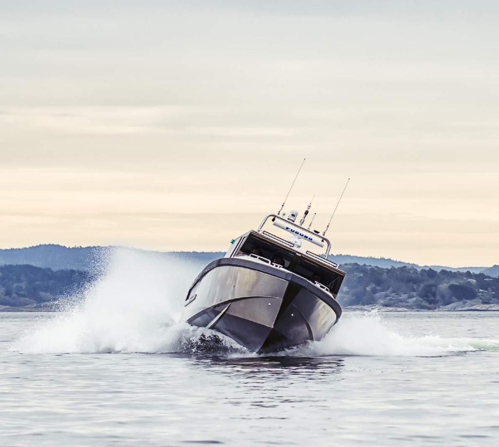 Swede Ship 40 - An exclusive, fast, quiet, seaworthy and practical aluminum boat with exceptional maneuverability. The boat is designed and equipped for transports and overnight stays all year round.