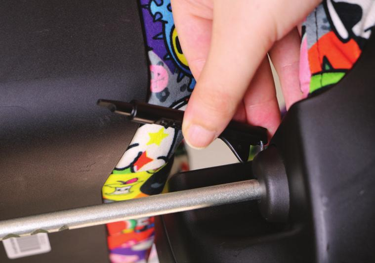 Use Troubleshooting Tool to install Headrest: From back of car seat, place the Headrest support rods into the Headrest Guides on top of seat back, as shown in Figure 47.