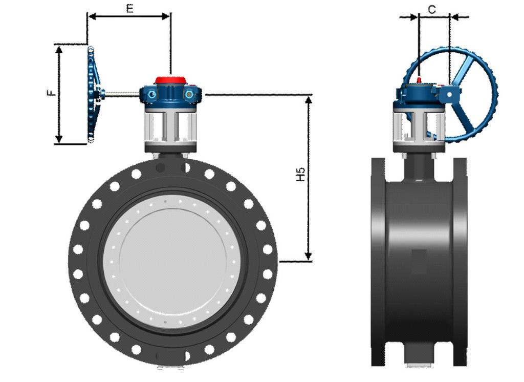 GEAR OPERATOR DIMENSIONS Flowserve TX2 Butterfly Valves FCD DVENTB0400-00 All dimensions are in mm. SIZE ASME Cl. 150 Operated Dimensions mm inch Series no.