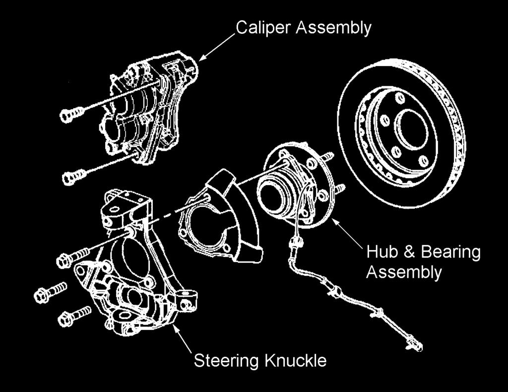 5) Pull the halfshaft out of the hub and through the lower control arm opening. Be careful not to damage the drive shaft boots. 6) Repeat steps 3 through 5 for the other side.
