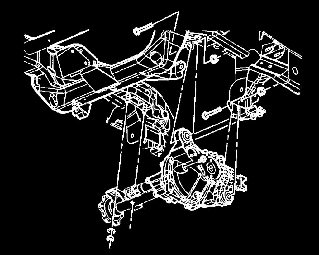 Illustration #8 6) Support the front differential assembly with a floor jack. Remove the upper mounting nut and bolt. 7) Remove the differential assembly from the vehicle.