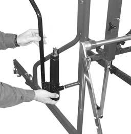 With center section in upright position, attach the left and right side frames to the center section using two 5/16-18
