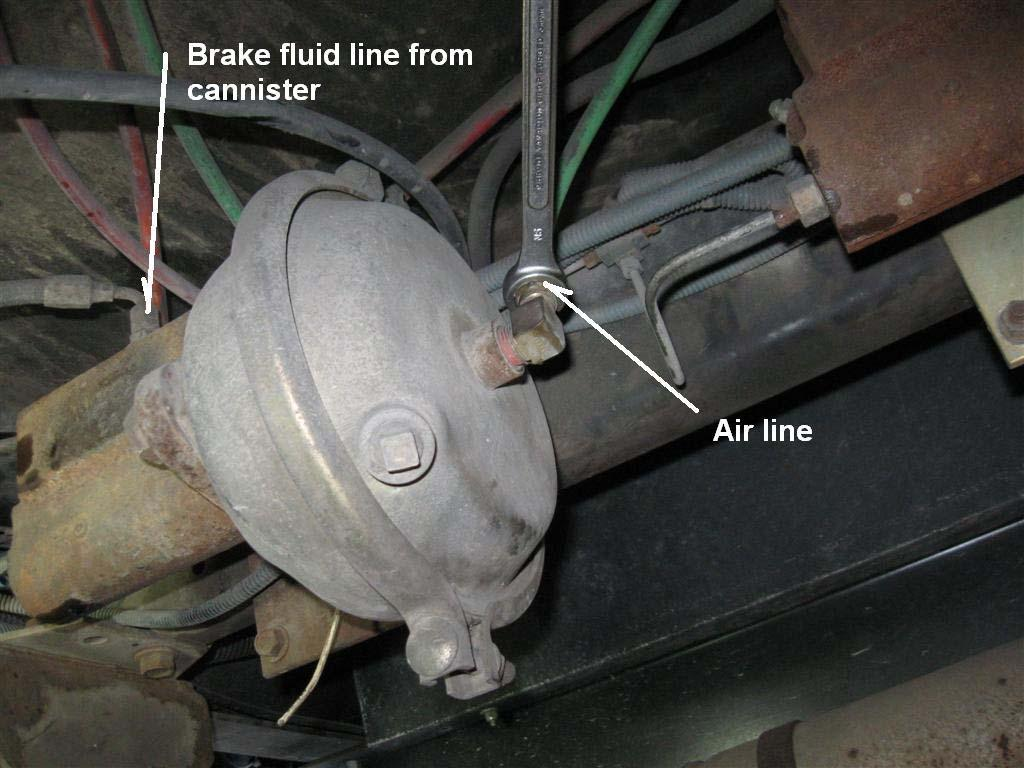 While draining the master cylinder, remove the air line and the brake fluid fill