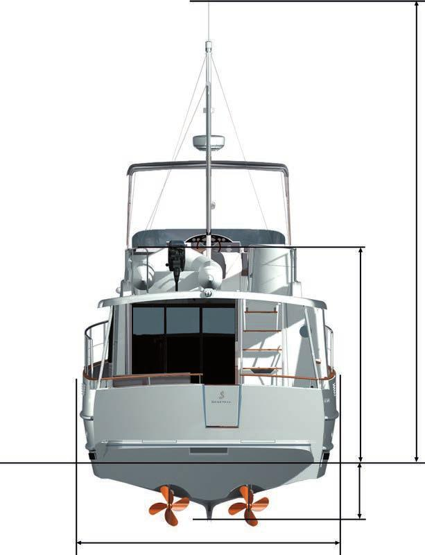 cabin: 7,30 m² / 78,5 sq ft Air draft - max 7,76 m / 25 6 Water line Light