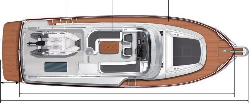 Dinghy 3,20 x 1,50 m / 10 6 x 4 11 Bench seating - Fly 1,84 x 1,25 m / 6 x 4 1 1,99 x 0,49 m / 6 6 x 1 7 Beam - Catwalks 0,39 m / 1 3 Access to the engine Forward sun