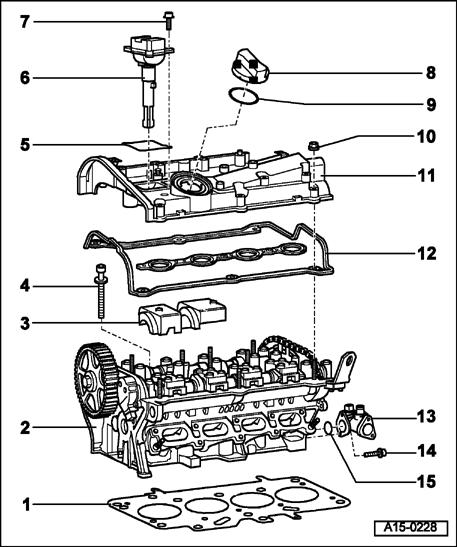Page 2 of 35 15-3 Part I 1 - Cylinder head gasket Replacing page 15-20 cylinder head, removing Installed position: part number faces cylinder head After replacing, replace coolant 2 - Cylinder head