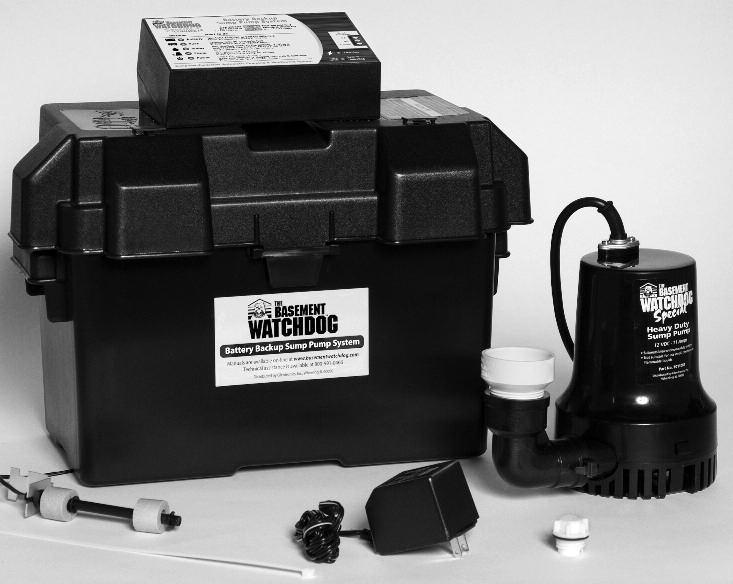 Introduction Control Unit The Basement Watchdog Special backup sump pump system is battery-operated.