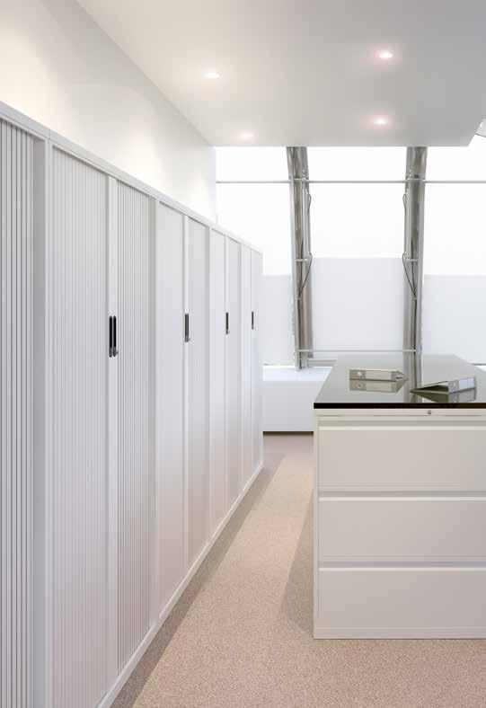 Tambours Tambours offer the versatility of a cupboard but with space saving doors. Tambours are great for when space is a premium.