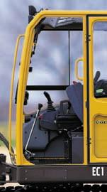 A very high level of comfort and safety COMPACT EXCAVATOR Safe access to the operator's cab To facilitate access to the operator's cab, the cab door offers a