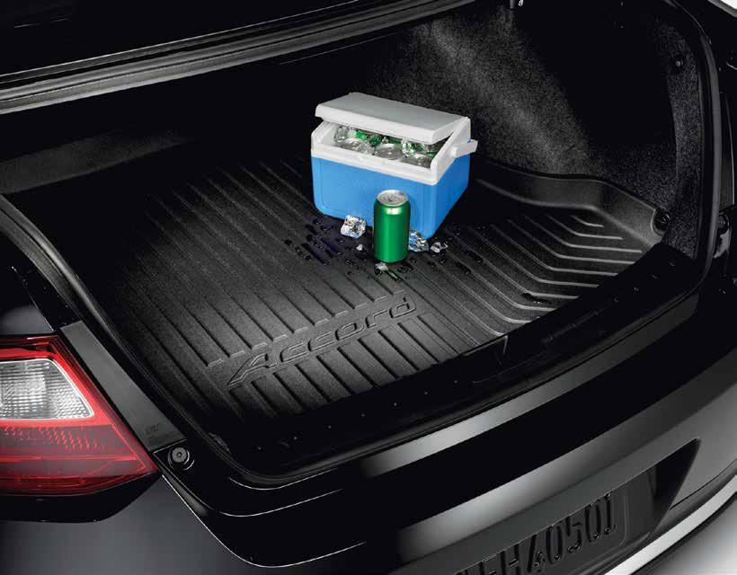 TRUNK TRAY Keeps your trunk floor looking new contoured to help protect the trunk from sharp, wet or soiled cargo Custom-molded to fit the trunk area of your Honda