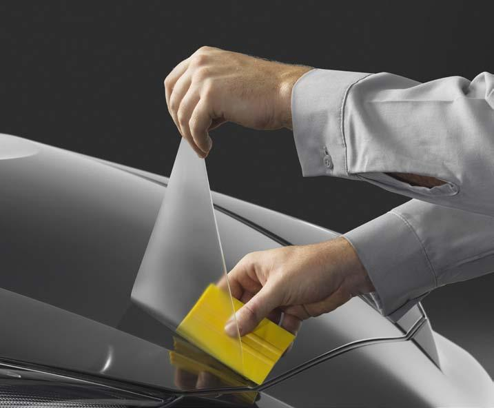 help resist yellowing, the film is designed to help protect portions of the front of the vehicle.