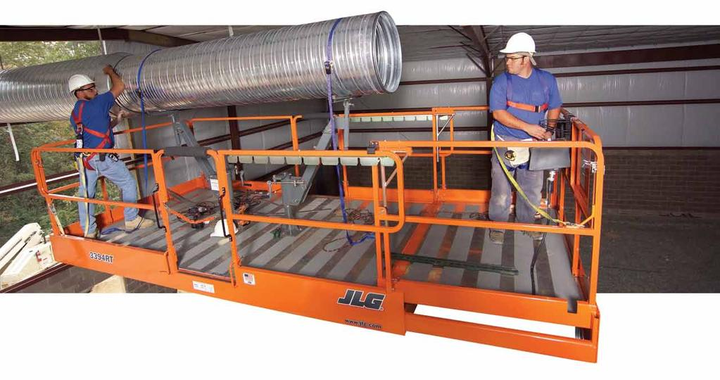 Scissor Lift AccessorieS SkyPositioner Package The JLG SkyPositioner accessory is designed for workers placing heavy pipe or ductwork overhead.