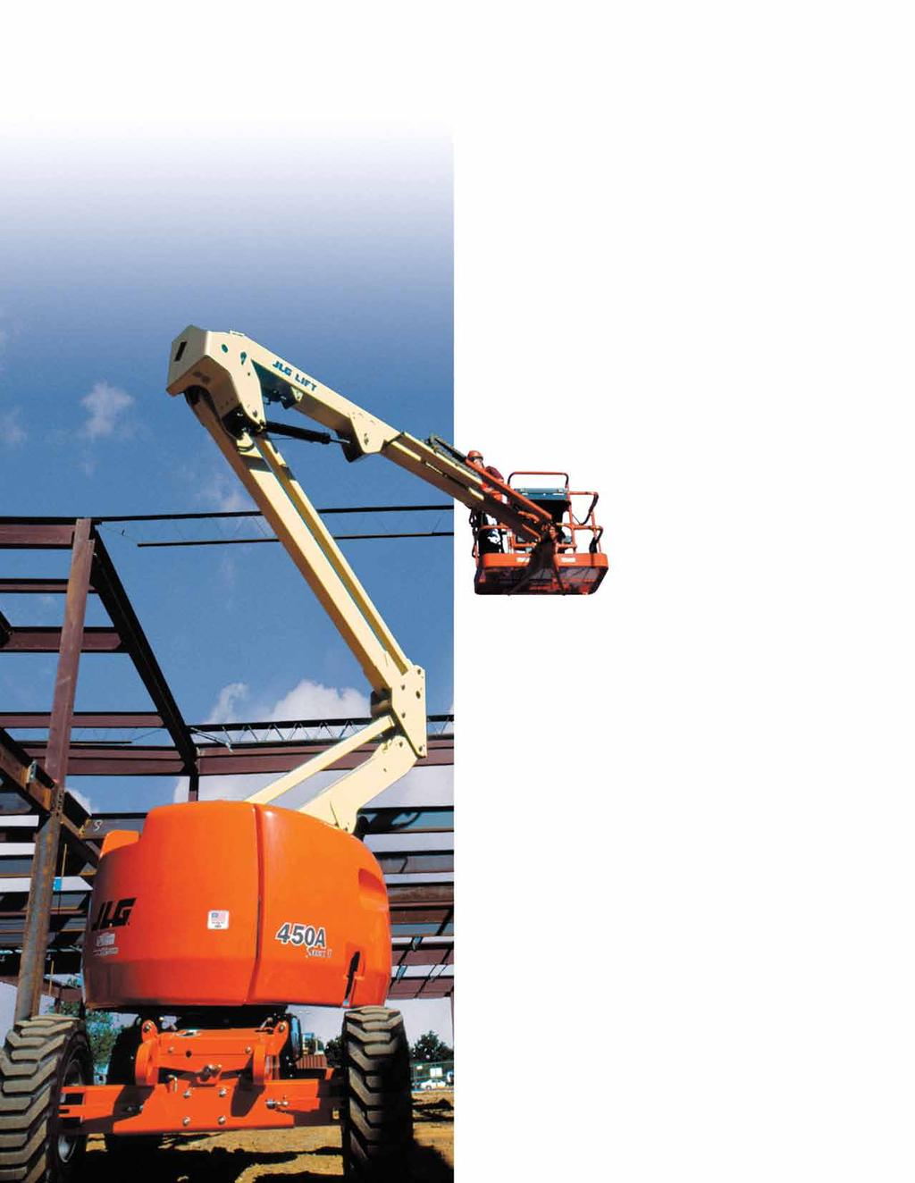 450 Series and Model 340AJ Articulating Boom Lifts Go Farther with a Wider Range of Motion.