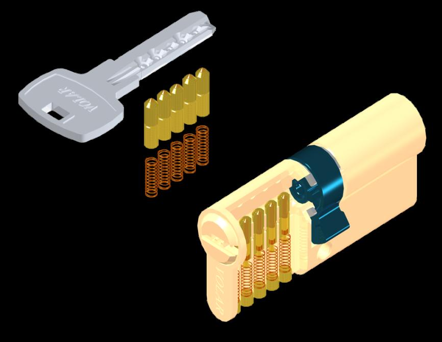 d. Telescopic Pin Flat Pointed Key Series(LK5008) Brass profile lock body with sintered cam and 4 brass keys Function available for Order - Gear Wheel Series (10 teeth / 14 teeth) - Single Side with