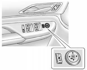 2-20 Keys, Doors, and Windows Power Mirrors Manual Folding Mirrors Shown, Power Folding Similar To adjust the mirror: 1.