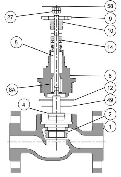 Baumann Pneumatic Actuators Instruction Manual Figure 1. Typical Baumann Valve Components E1239 Table 1.