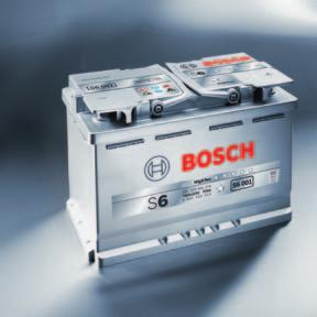 Top performance right from the start: Passenger car batteries from Bosch Bosch S6 with AGM: the technology for start / stop systems It is not only the continued supply of electrical consumers in the