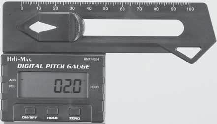INTRODUCTION Thank you for purchasing the Heli-Max Digital Pitch Gauge. This product is intended to measure the angle on the helicopter s main and tail rotor blades during setup.