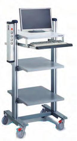 Universal trolley WTR A good quality, versatile trolley, PC-station, measuring station or mobile storage trolley. Modern industrial design.