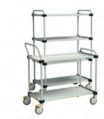 Adjustable trolley TRTA For general use in workshops, offices, production areas and hospitals. Epoxy powder coated RAL 7035 ESD shelves, depth 28 mm. All shelves are individually adjustable.
