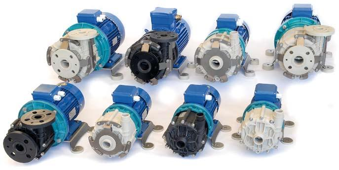 gravity 1 kg/dm2 pt View of Route range pumps in different materials and constructions.