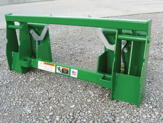 * Interfaces with skid steer or agricultural loaders that use the universal skid steer attaching method to allow them to use attachments that mount to