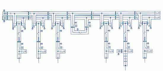 Double busbar This circuit is the most common circuit version for important key-point substations, power plant supply,