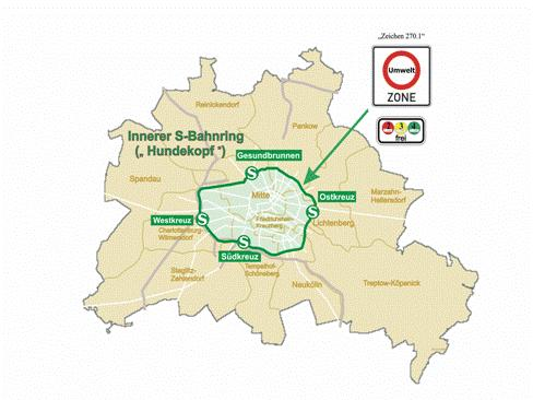 Environmental zone: Berlin Source: Senate Administration for Urban Development, Berlin Area: (S-Bahn Ring) Entry into force in 2 stages: 2008 diesel vehicles with at least EURO II 2010 diesel