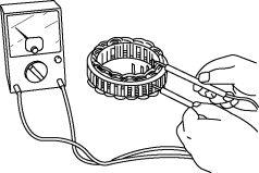 Inspect for continuity between the stator coil leads using an ohmmeter.