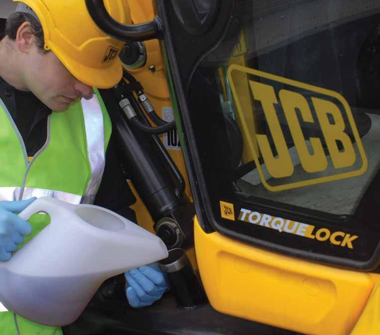 JCB LUBRICANTS HYDRAULIC FLUIDS Maintaining a super clean hydraulic system ensures minimum downtime High quality base oil and sophisticated additives Filtered to higher than normal tolerances