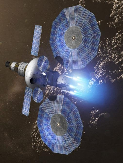 Solar Electric Propulsion (SEP) Description Provides high propellant efficiency or ISP = 3000 vs 450 for H2 / O2 Prop.