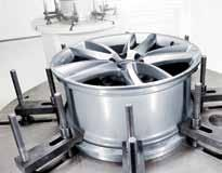 In the test, wheels which have been previously damaged by simulated stone chips are