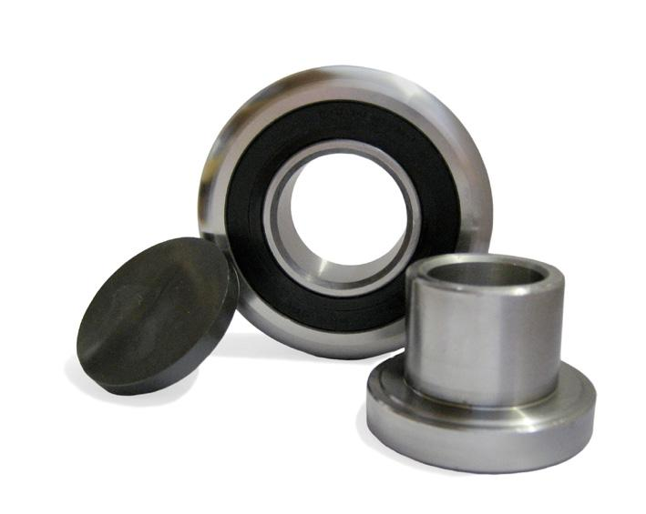 Other Bearings CHANNEL BALL BEARINGS Sealed Ball Bearing Spacers Axle / Hub Rubbing Block Hex Head Grub Screw d R D 1 S B A The complete assembly includes the sealed ball bearing, a metal hub (ST52)
