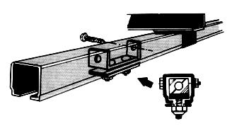 4 Track Coupler Illustration: Track Coupler The track coupler is slid halfway onto the first joint of the C rail and then clamped.
