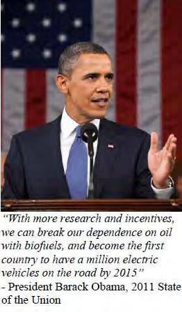 One Million Electric Vehicles by 2015 In his State of the Union speech in Jan.