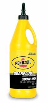 Gear Lubricants Pennzoil Synthetic gear oils Available in SAE 75W-90 viscosity grade of either API GL-4 or API GL-5 and also 75W-140 GL-5 service classifications.