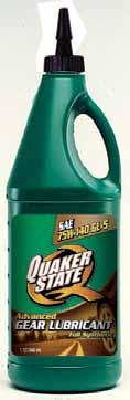 Gear Lubricants Quaker State gear lubricants are developed to provide outstanding protection for all types of driving conditions - just as our motor oils are.