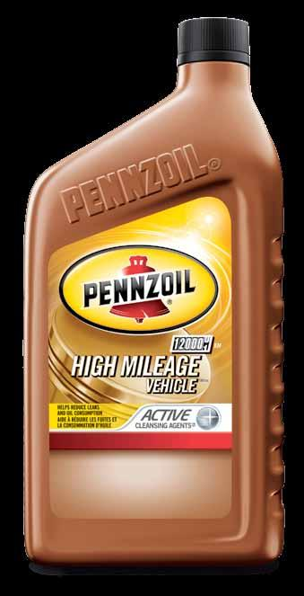 Passenger Car Motor Oil Pennzoil High Mileage Vehicle Motor Oils Cleans out up to 40% of engine sludge in the 1 st oil change 1 Plus Helps reduce leaks and burn-off in worn or high mileage engines 2