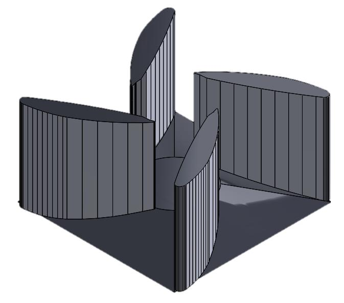 II. A. Initial Design PRODUCT DEVELOPMENT AND TESTING The initial design of the model consisted of four wing shaped stators placed inside of a similar housing structure.