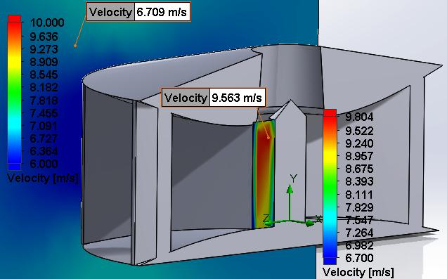 The initial design is shown below: This data will show the team which of the designs will generate the most torque on the vanes as the vanes start directly after the end of the stators.