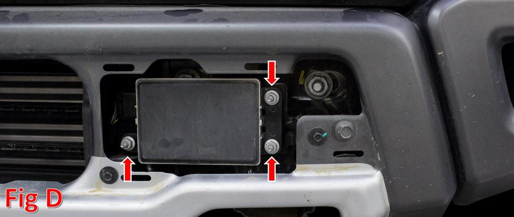 4. Remove your Adaptive Cruise Control Module. (Fig D) a. Using an 11mm Socket, remove the three nuts holding the Module on. b.